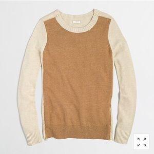 J. Crew Warmspun Colorblock Zip Sweater XS